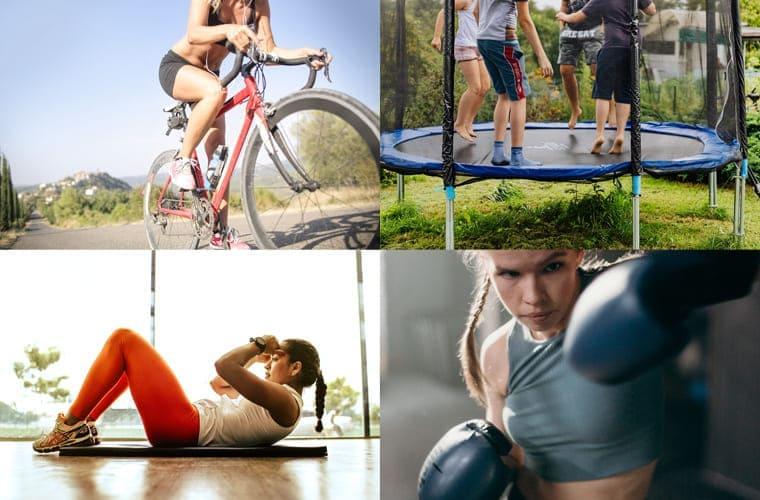 自転車、トランポリン、筋トレ、ボクシングをやっている女性